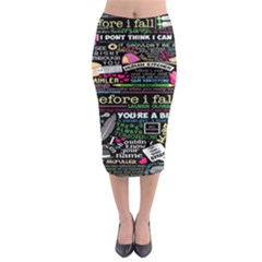 Book Collage For Before I Fall Midi Pencil Skirt