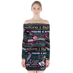 Book Collage For Before I Fall Long Sleeve Off Shoulder Dress