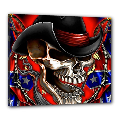 Confederate Flag Usa America United States Csa Civil War Rebel Dixie Military Poster Skull Canvas 24  x 20