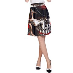 Confederate Flag Usa America United States Csa Civil War Rebel Dixie Military Poster Skull A-Line Skirt