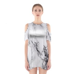 Marble Pattern Shoulder Cutout One Piece