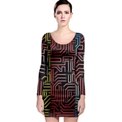 Circuit Board Seamless Patterns Set Long Sleeve Bodycon Dress