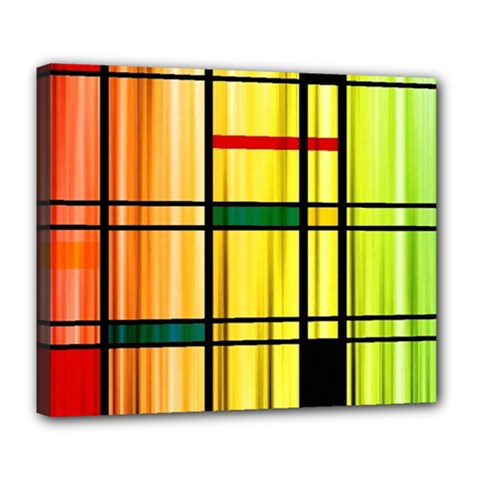 Line Rainbow Grid Abstract Deluxe Canvas 24  x 20