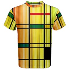 Line Rainbow Grid Abstract Men s Cotton Tee