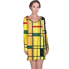 Line Rainbow Grid Abstract Long Sleeve Nightdress