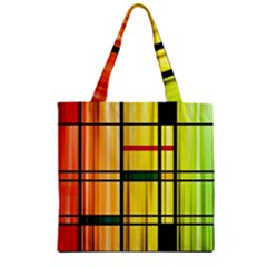 Line Rainbow Grid Abstract Zipper Grocery Tote Bag