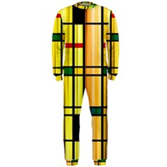 Line Rainbow Grid Abstract OnePiece Jumpsuit (Men)