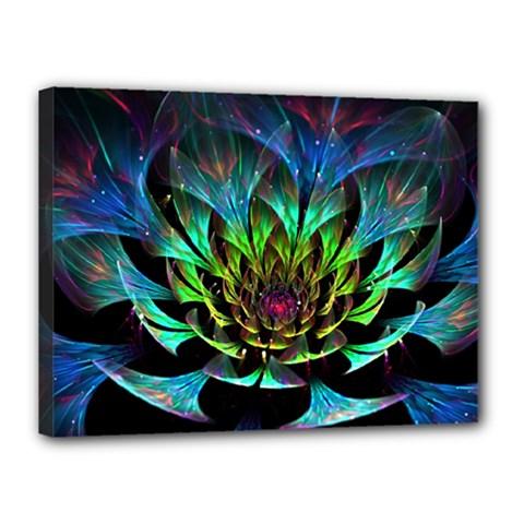 Fractal Flowers Abstract Petals Glitter Lights Art 3d Canvas 16  x 12