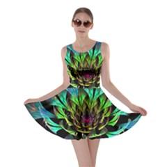 Fractal Flowers Abstract Petals Glitter Lights Art 3d Skater Dress