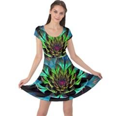 Fractal Flowers Abstract Petals Glitter Lights Art 3d Cap Sleeve Dresses