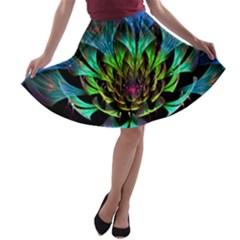 Fractal Flowers Abstract Petals Glitter Lights Art 3d A-line Skater Skirt