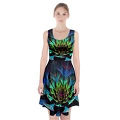 Fractal Flowers Abstract Petals Glitter Lights Art 3d Racerback Midi Dress