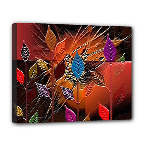 Colorful Leaves Deluxe Canvas 20  x 16