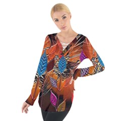 Colorful Leaves Women s Tie Up Tee