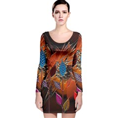Colorful Leaves Long Sleeve Velvet Bodycon Dress