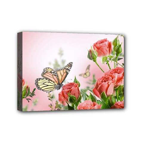 Flora Butterfly Roses Mini Canvas 7  x 5
