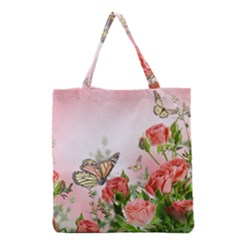 Flora Butterfly Roses Grocery Tote Bag