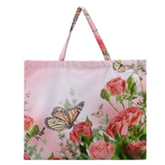 Flora Butterfly Roses Zipper Large Tote Bag