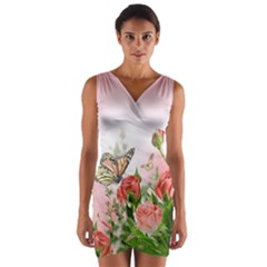 Flora Butterfly Roses Wrap Front Bodycon Dress