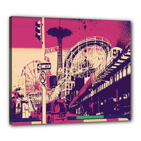 Pink City Retro Vintage Futurism Art Canvas 24  x 20