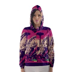 Pink City Retro Vintage Futurism Art Hooded Wind Breaker (Women)