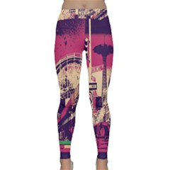 Pink City Retro Vintage Futurism Art Classic Yoga Leggings