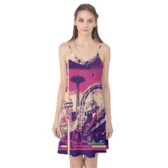 Pink City Retro Vintage Futurism Art Camis Nightgown