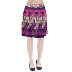 Pink City Retro Vintage Futurism Art Pleated Skirt