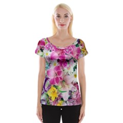 Colorful Flowers Patterns Women s Cap Sleeve Top