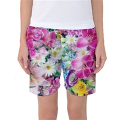 Colorful Flowers Patterns Women s Basketball Shorts