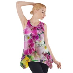 Colorful Flowers Patterns Side Drop Tank Tunic