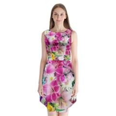 Colorful Flowers Patterns Sleeveless Chiffon Dress