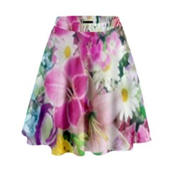 Colorful Flowers Patterns High Waist Skirt