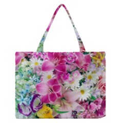 Colorful Flowers Patterns Medium Zipper Tote Bag