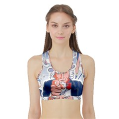 Independence Day United States Of America Sports Bra with Border