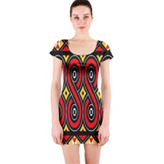 Toraja Traditional Art Pattern Short Sleeve Bodycon Dress