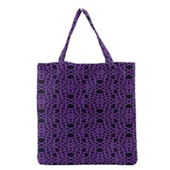 Triangle Knot Purple And Black Fabric Grocery Tote Bag