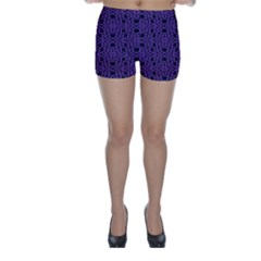 Triangle Knot Purple And Black Fabric Skinny Shorts