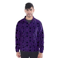 Triangle Knot Purple And Black Fabric Wind Breaker (Men)