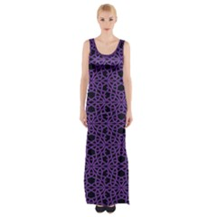 Triangle Knot Purple And Black Fabric Maxi Thigh Split Dress