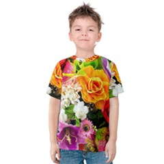 Colorful Flowers Kids  Cotton Tee