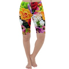 Colorful Flowers Cropped Leggings