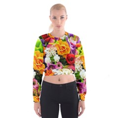 Colorful Flowers Cropped Sweatshirt