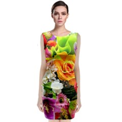 Colorful Flowers Classic Sleeveless Midi Dress