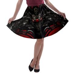Black Dragon Grunge A-line Skater Skirt
