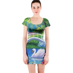 Swan Bird Spring Flowers Trees Lake Pond Landscape Original Aceo Painting Art Short Sleeve Bodycon Dress
