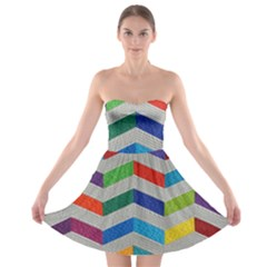 Charming Chevrons Quilt Strapless Bra Top Dress