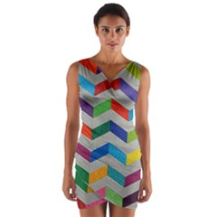 Charming Chevrons Quilt Wrap Front Bodycon Dress