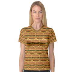 Delicious Burger Pattern Women s V-Neck Sport Mesh Tee