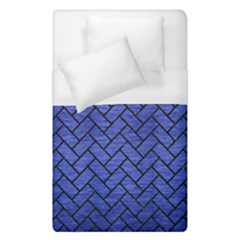 Brick2 Black Marble & Blue Brushed Metal (r) Duvet Cover (single Size)